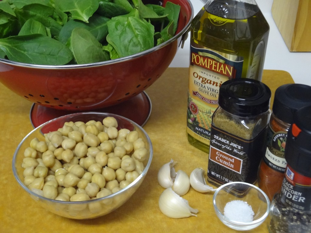 Chickpeas and Spinach Ingredients