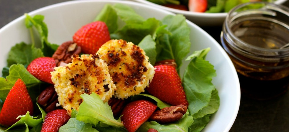 Fried Goat Cheese Strawberry Salad on marisamoore.com