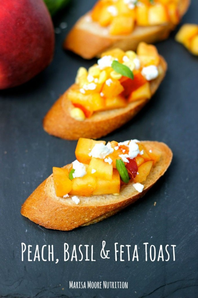 Peach Basil Feta Toast on MarisaMoore.com