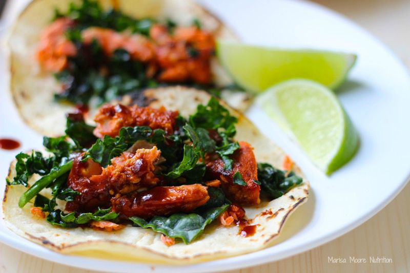 BBQ Salmon & Kale Tacos on marisamoore.com
