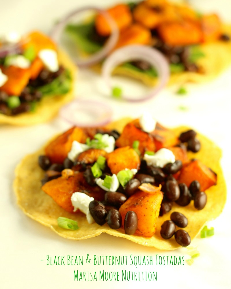 Black Bean Tostadas with Chile Roasted Butternut Squash | Marisa Moore ...