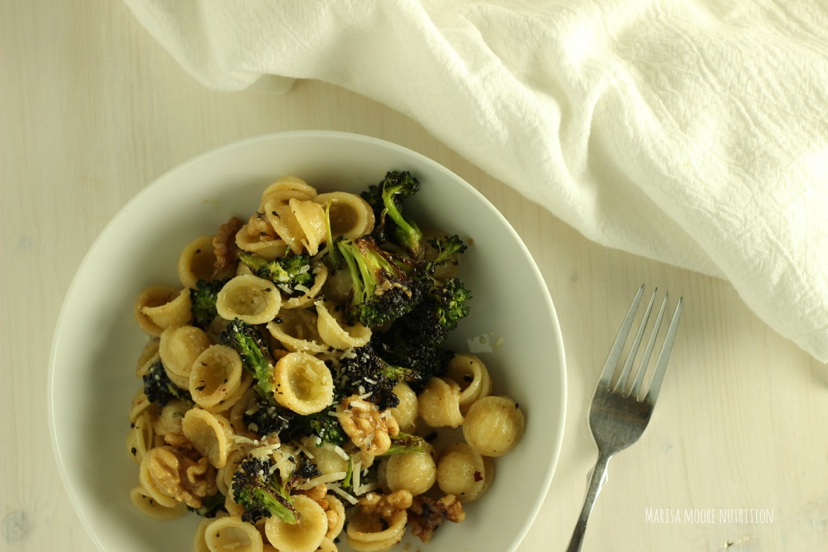 Roasted Broccoli + Walnut Pasta