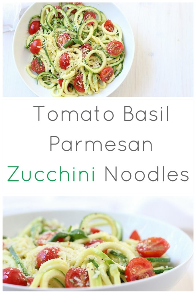 Zucchini Noodles with Tomato Basil Parmesan