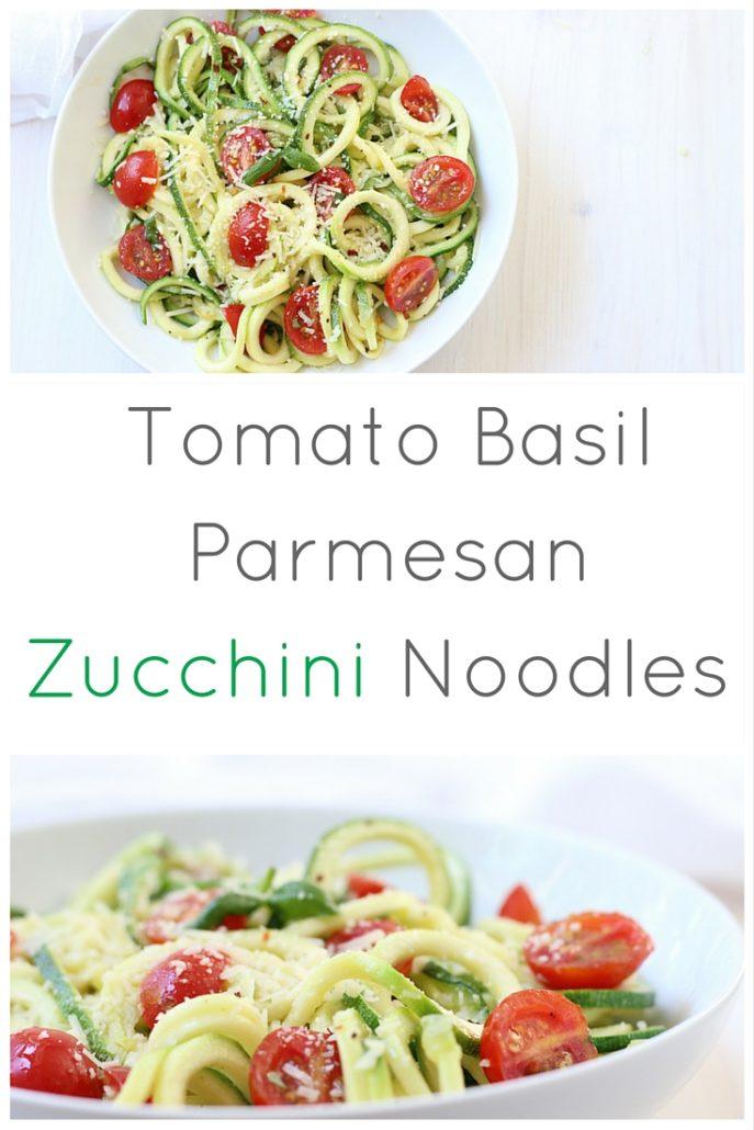 Zucchini Noodles with Tomato Basil Parmesan