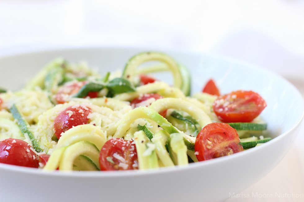Zucchini Noodles with tomato basil