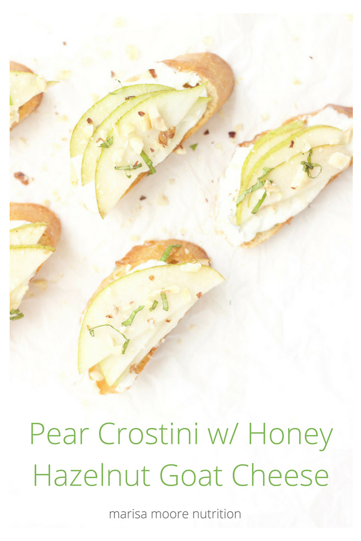 Pear Crostini with Honey Hazelnut Goat Cheese