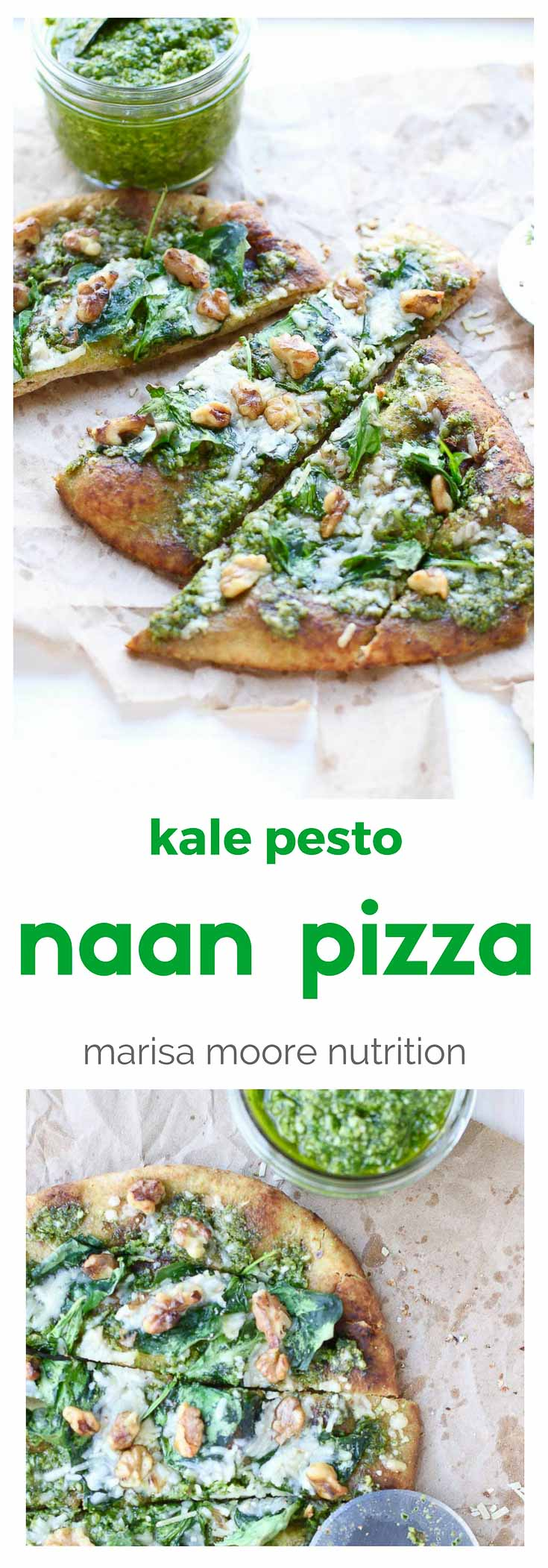 Easy Naan Pizza! This Kale Pesto Naan Pizza is made with whole grain naan, baby kale, walnuts and lots of garlic! @marisamoore