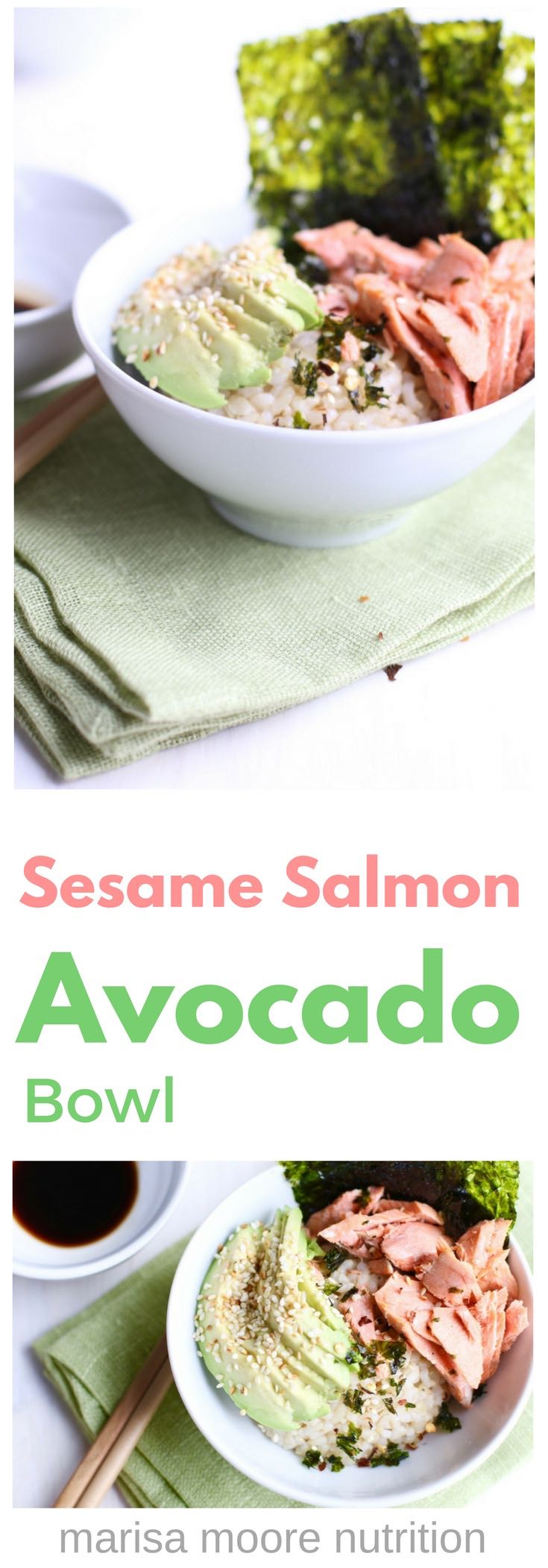 Sesame Salmon Avocado Bowl - It's salmon avocado sushi - unrolled!