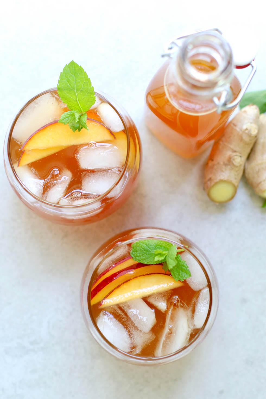 Peach Ginger Mint Iced Tea