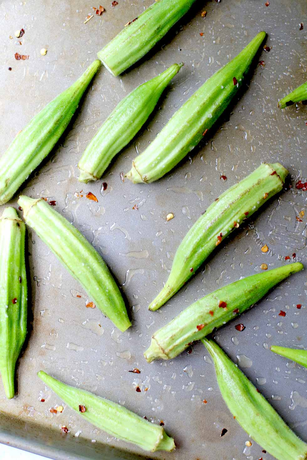Spicy Roasted Okra w/ Peanut Sauce