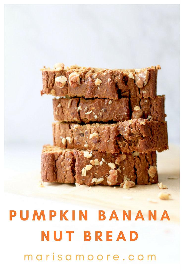 Gluten-free Pumpkin Banana Nut Bread
