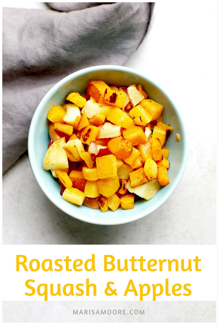 Easy Roasted Butternut Squash and Apples - vegan, gluten-free, fall recipe via @marisamoore #veganrecipe #easyrecipes #butternutsquash