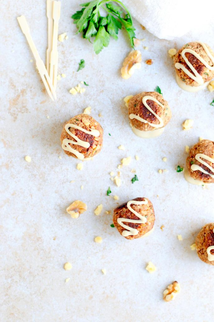Meatless Walnut Meatball Appetizer