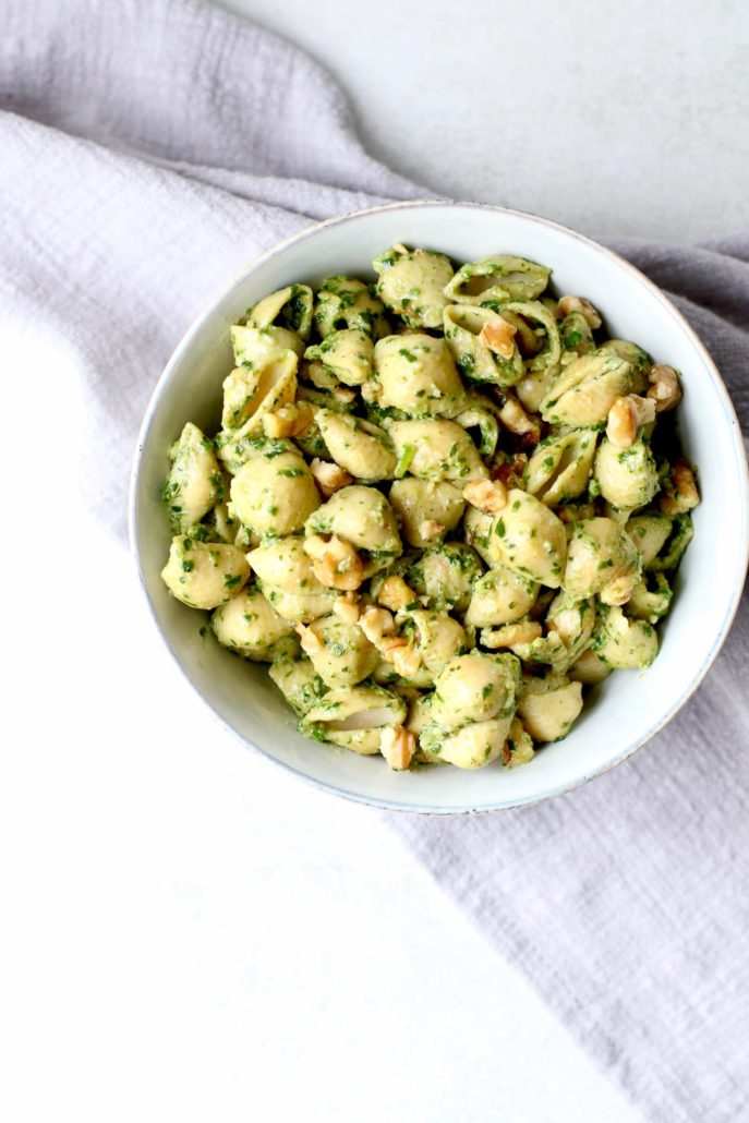 Chickpea Walnut Pesto Pasta Overhead