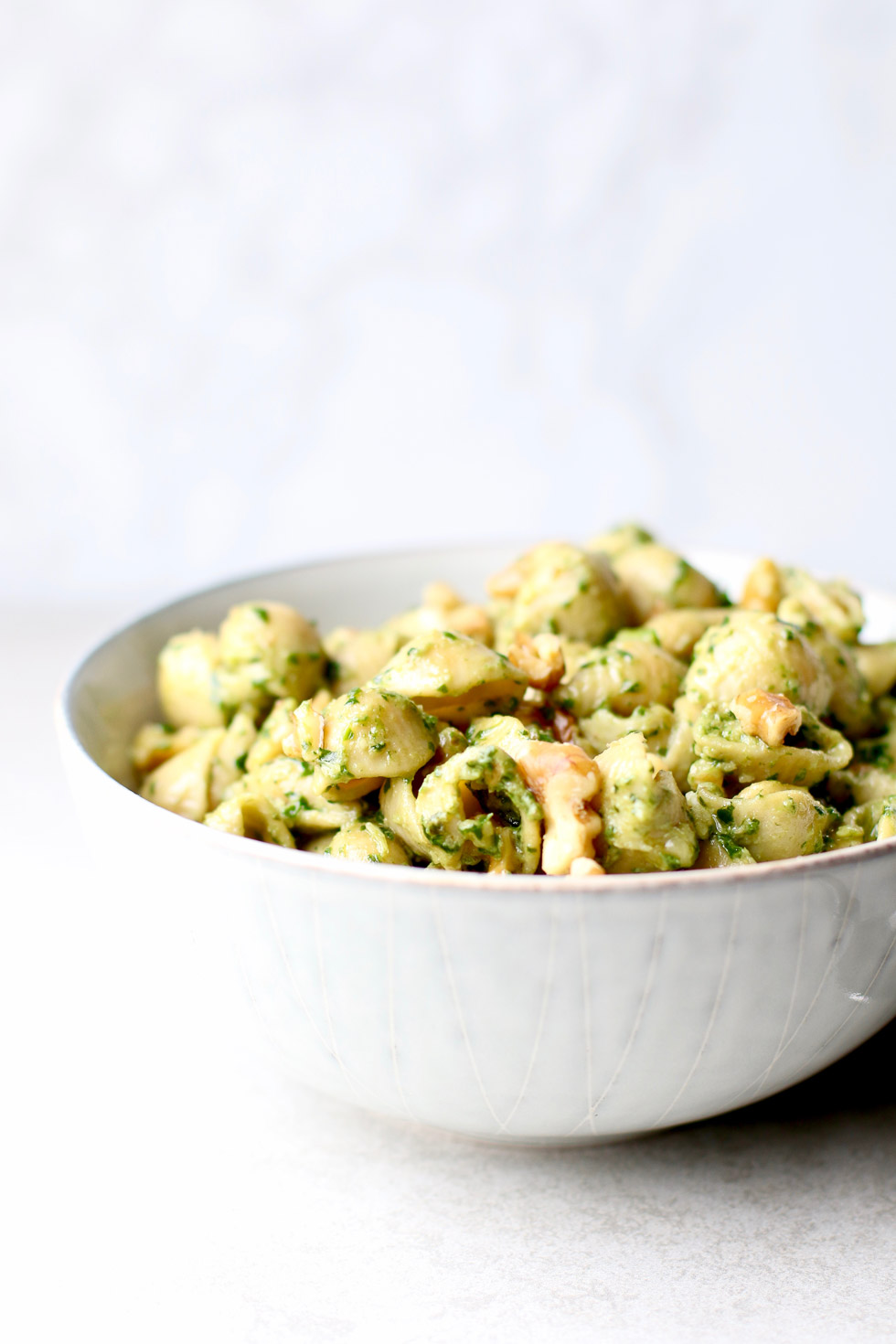 Chickpea Walnut Pesto Pasta Side view