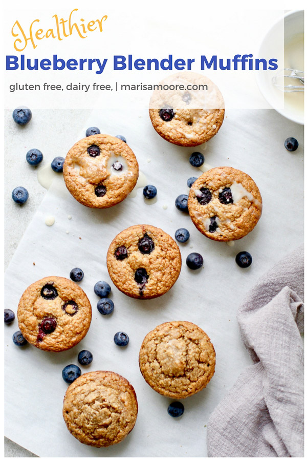 Healthy Blueberry Blender Muffins! | gluten-free, dairy-free and no regular flour; Naturally sweetened and made with whole grain oats, these healthy Blueberry Blender Muffins are lower in sugar and packed with fiber. They are perfect for your breakfast or brunch table! #glutenfreebaking #easyrecipes #oatrecipes #glutenfree