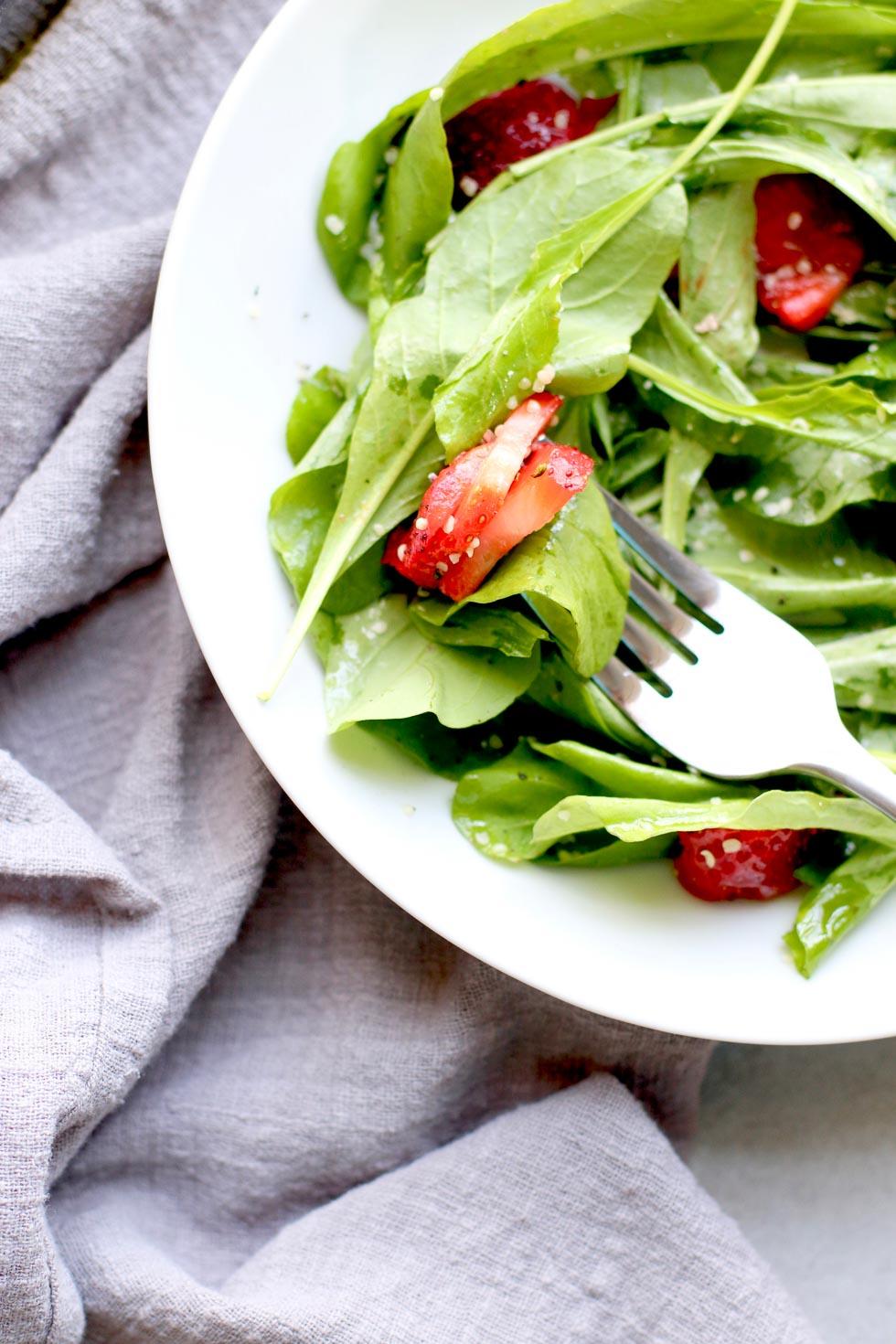 Strawberry Arugula Salad with Hemp Seed First Bite