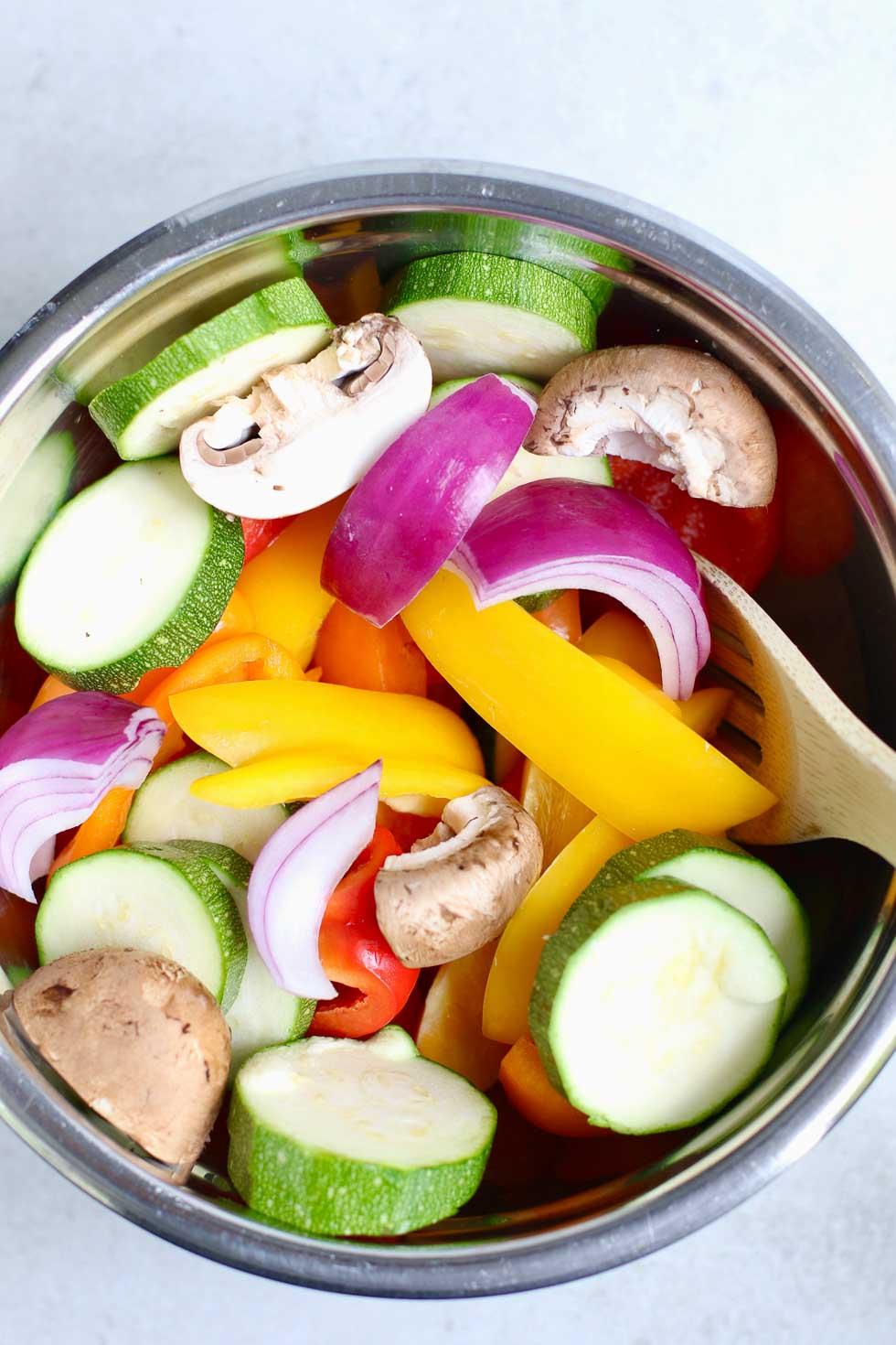 Stirring chopped vegetables