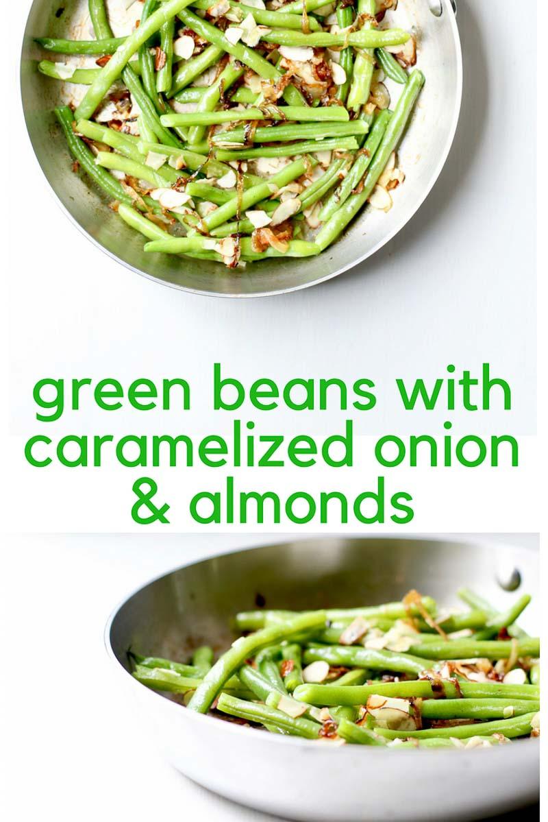 Green Beans in skillet for Pinterest