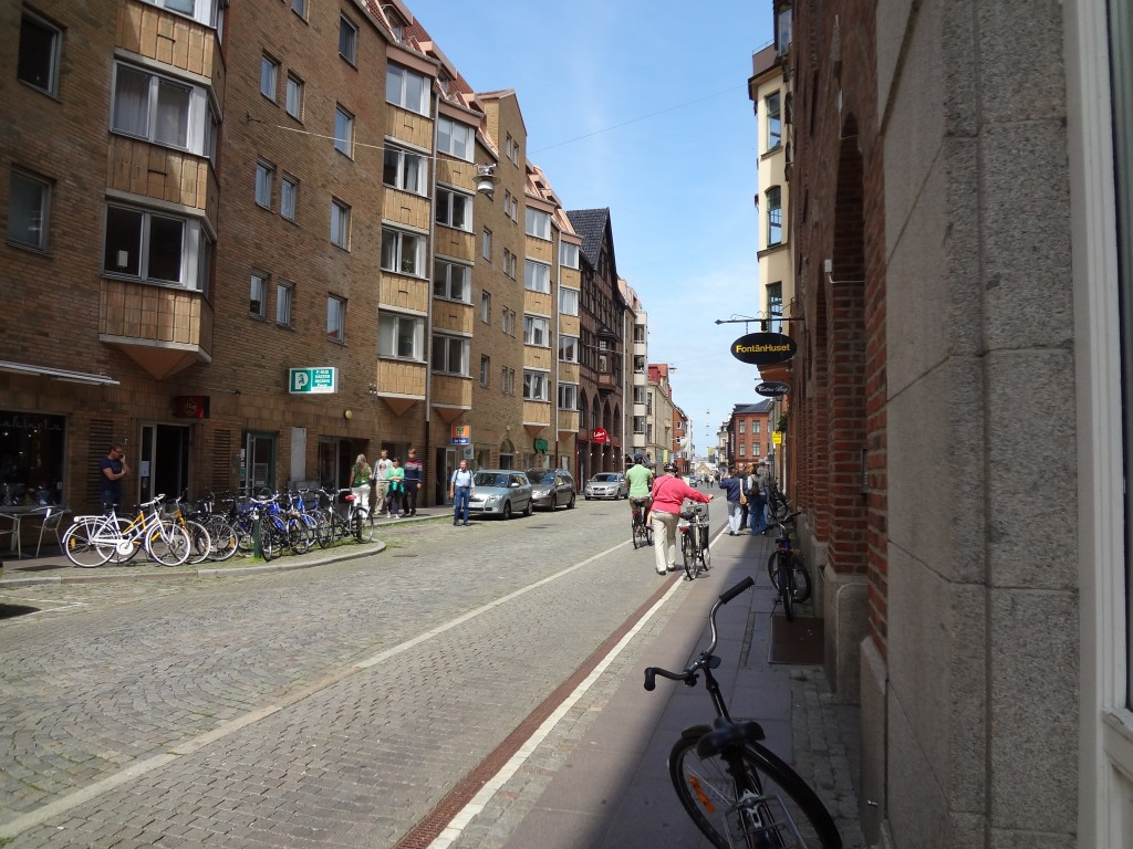 Bikes outnumber the cars on the street