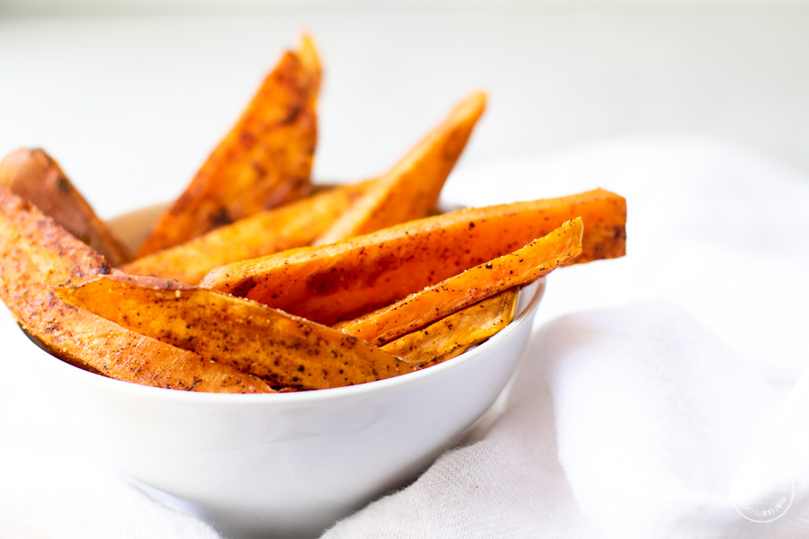 baked sweet potatoes in a bowl side