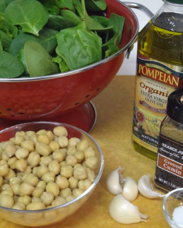 Spinach + Chickpea Recipe Ingredients on marisamoore.com