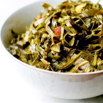 honey cider collard greens in a bowl