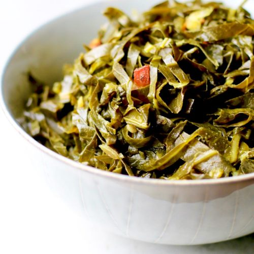 honey cider collard greens in a bowl