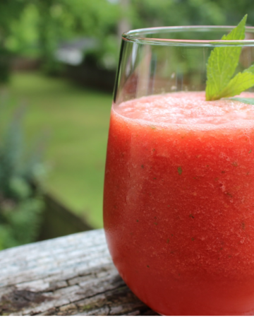 Watermelon mint slushy in a glass on a ledge