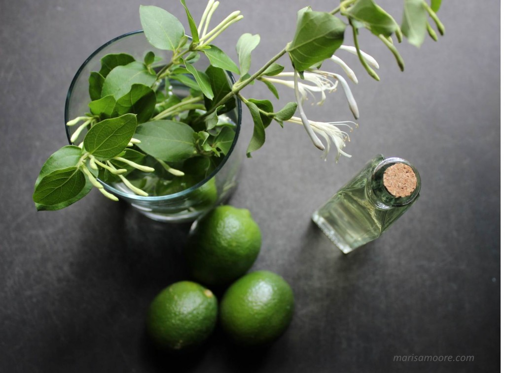 honeysuckle simple syrup + limes