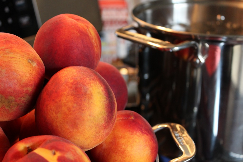 Peaches washed and ready to can