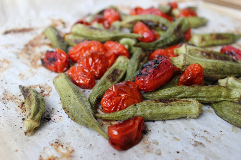 Roasted Okra & Tomato Salad from www.marisamoore.com