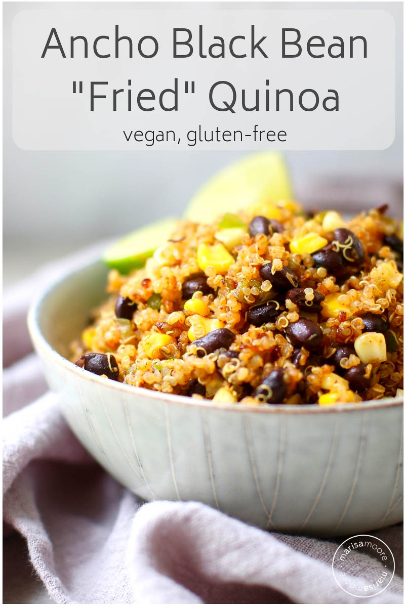 This black bean fried quinoa is a quick and easy vegan meal. Use up leftover quinoa and black beans for an easy meal prep recipe! #veganrecipes #blackbeanrecipes #blackbeans #quinoa #marisamoorenutrition