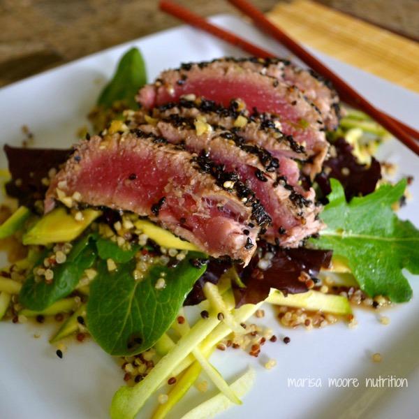 sesame wasabi tuna salad on marisamoore.com