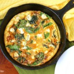 Chard Mushroom & Goat Cheese Frittata in cast iron skillet