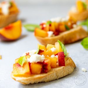 peach toasts on a gray background