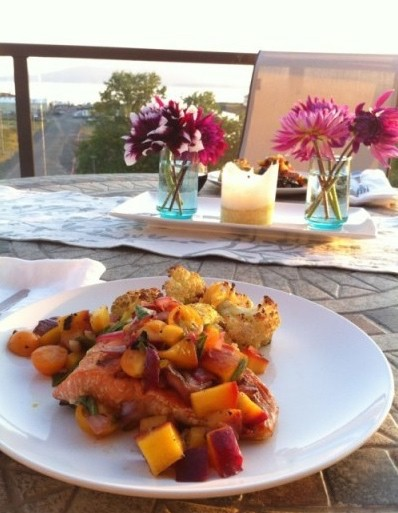 Seared Salmon with Grilled Peach Salsa Nourish RDs