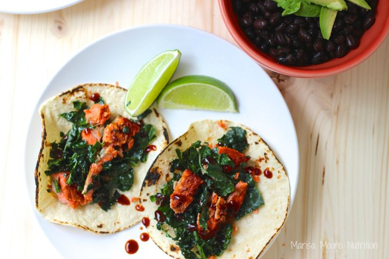 Easy BBQ Salmon & Kale Tacos on marisamoore.com
