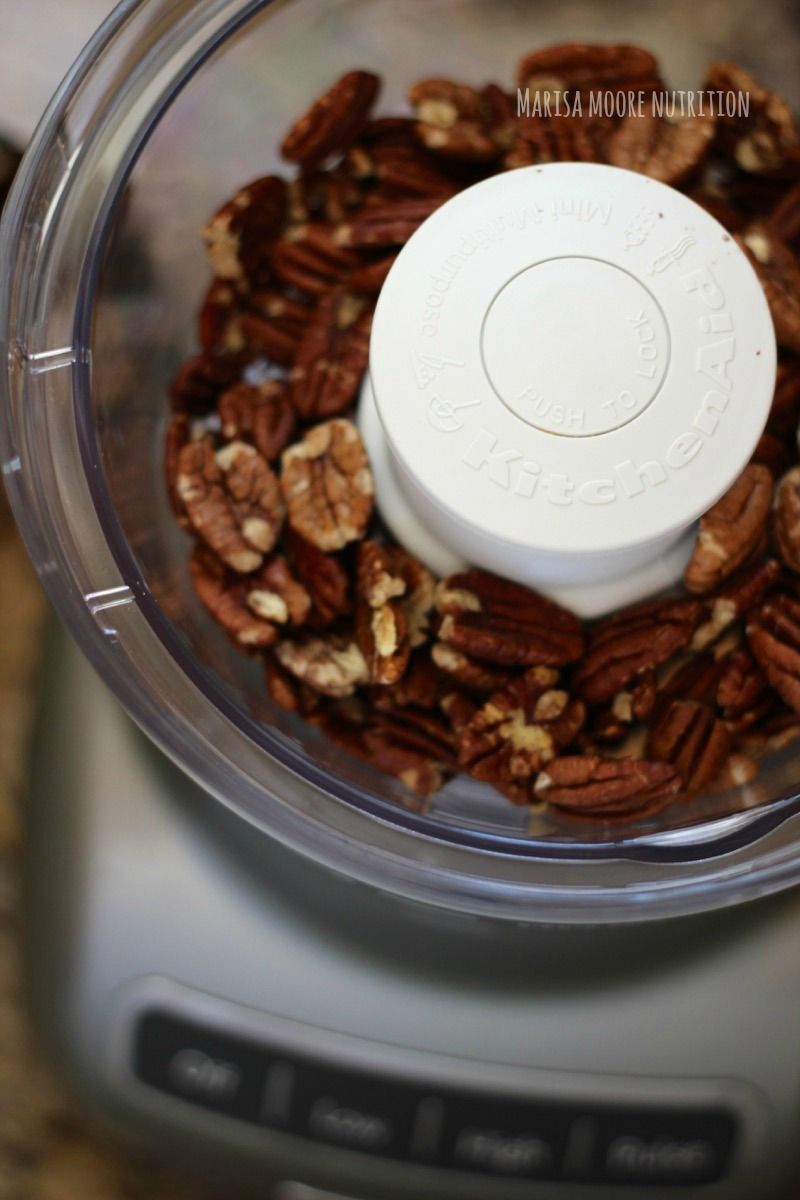 Pecans in the food processor on marisamoore.com