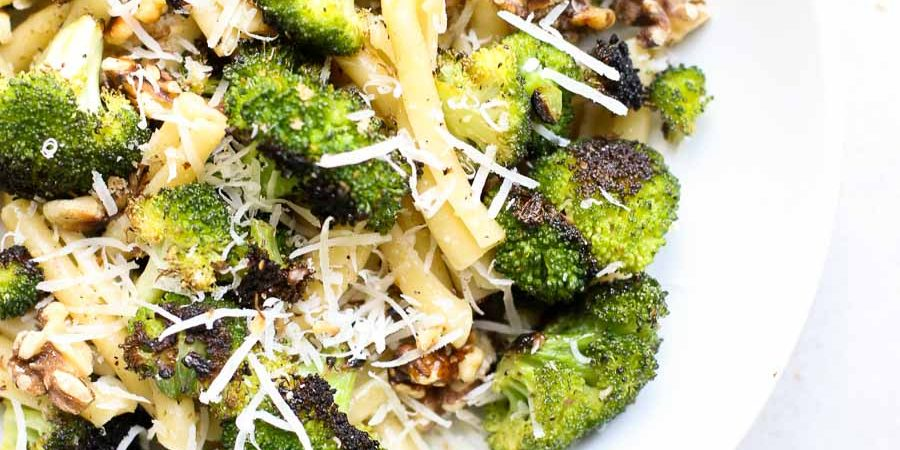 Roasted Broccoli and Walnut Pasta in a Bowl