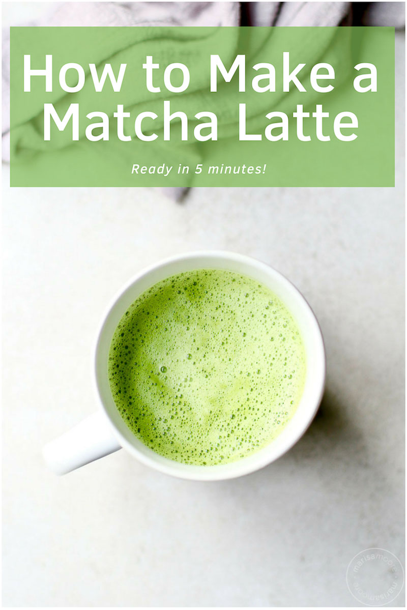 How to make a matcha latte in a few minutes. This easy matcha latte is packed with antioxidants - a good alternative to coffee for an extra boost of energy! #tea #healthyrecipes