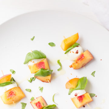 Fresh Peach Appetizer - Peach Basil Mozzarella Bites