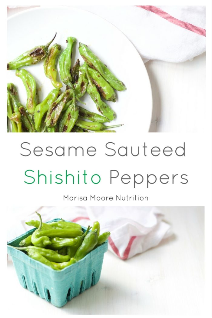 This is easy sautéed shishito pepper recipe will become your new favorite summer snack. Shishito peppers are sautéed in toasted sesame oil for a nutty, sweet and sometimes spicy finish! #shishitopeppers #toastedsesameoil #summerproduce #healthysnacks #veganrecipes