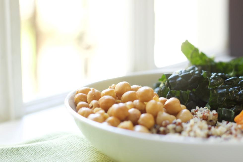 Roasted Kale, Sweet Potato and Chickpea Bowl