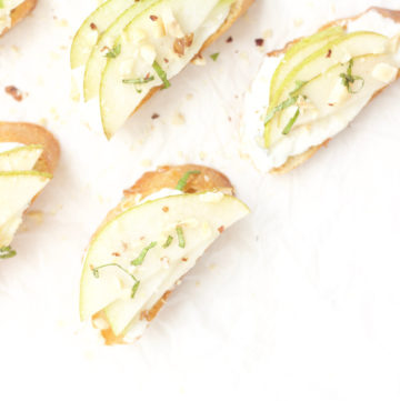 Healthy Holiday Appetizer - Pear Goat Cheese Crostini