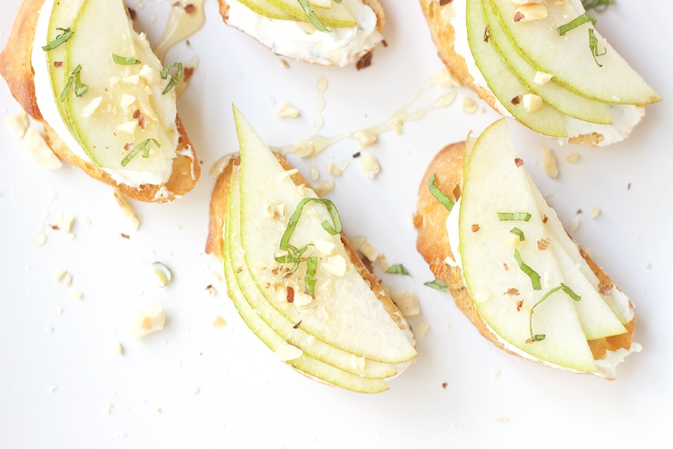 Healthy Holiday Appetizer Pear Crostini