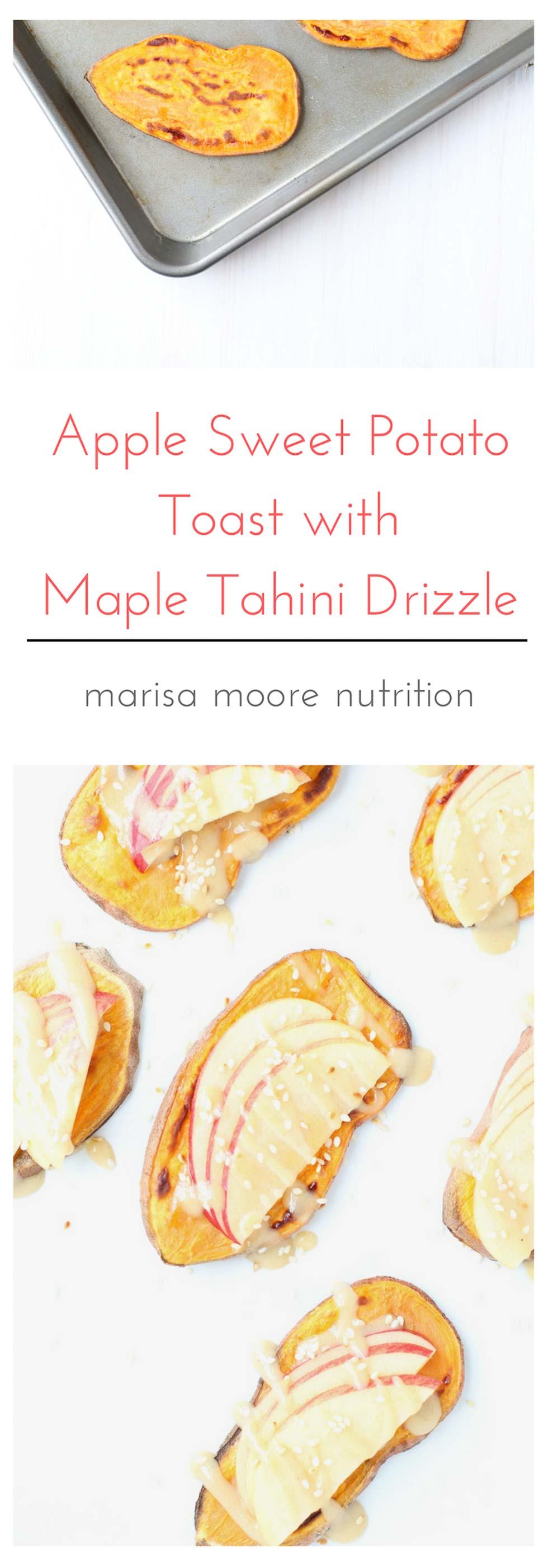 Apple Sweet Potato Toast with Maple Tahini Drizzle