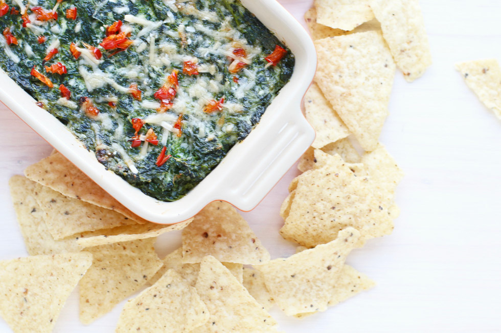 Healthy Spinach Dip in a casserole dish