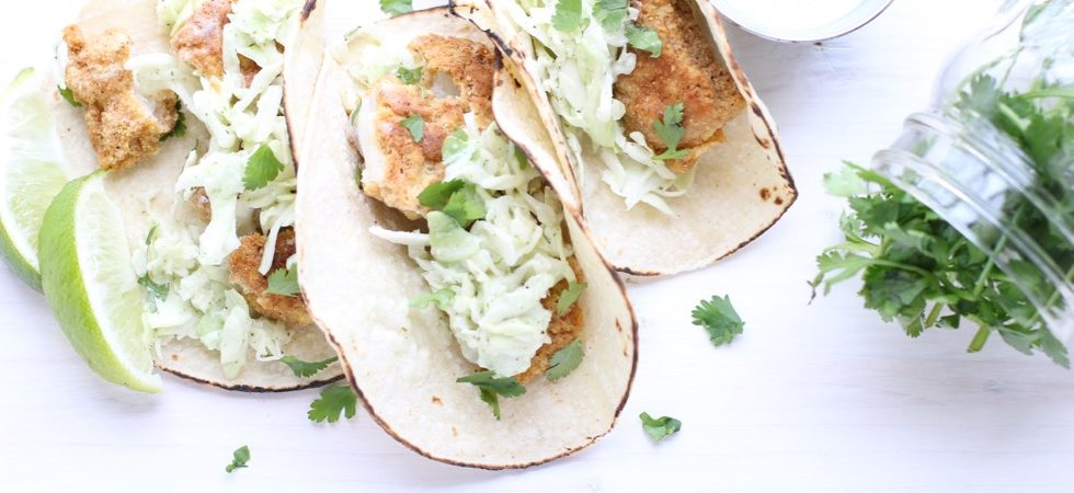 Crispy Cod Tacos with Honey Lime Cilantro Slaw