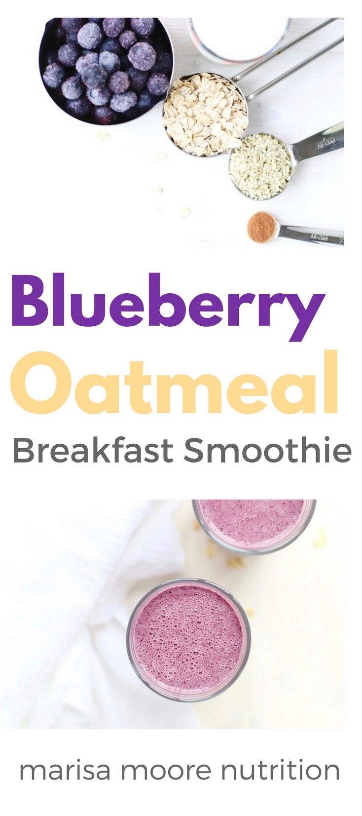 Blueberry Oatmeal Breakfast Smoothie PIN